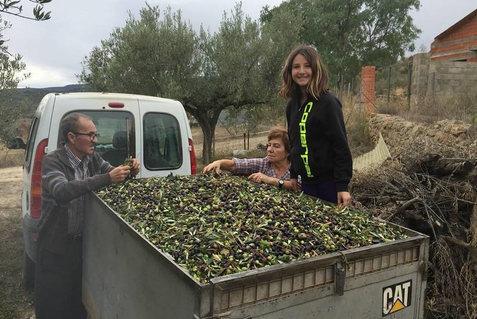 家族のオリーブ畑の果実も毎年搾油する。写っているのはご両親と娘さん
